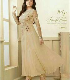 Buy beige embroidred Gorgette semi stitched salwar with dupatta semi-stitched-salwar-suit online