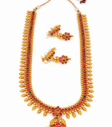 Buy TRADIONAL ANTIQUE GOLDEN HANDMADE THEME NECKLACE SET necklace-set online