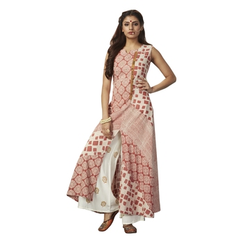 Peach printed cotton salwar stitched with dupatta