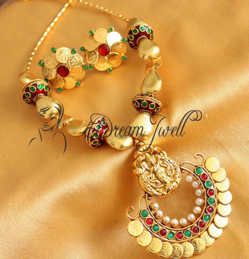 Designer Indian Earrings: Buy GORGEOUS GOLD TONE LAKSHMI BALI SHAPE PENDANT DESIGNER