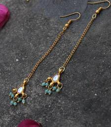 Buy Mansi kundan droplet with turquoise beads Earring online