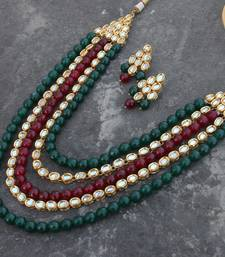 Buy Mehreen red and green oynx and kundn long necklace set necklace-set online