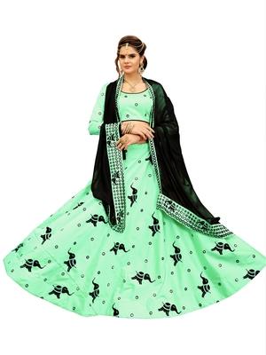 Light Green Embroidery Soft Tifi Silk Designer Lehenga Choli With Blouse