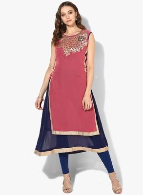 Zoeyams womens pink & blue georgette gota embroidery double layer long anarkali kurti