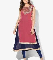 Zoeyams womens pink & blue georgette gota embroidery double layer long anarkali kurti