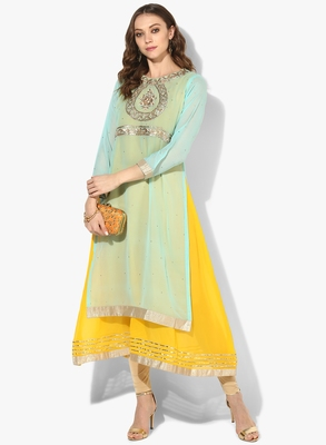 Zoeyams womens light firozi & yellow georgette gota embroidery double layer long anarkali kurti