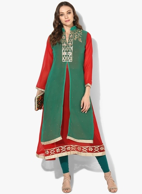 Zoeyams womens green & red georgette gota embroidery double layer long anarkali kurti