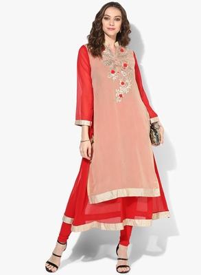 Zoeyams womens biege & red georgette gota embroidery double layer long anarkali kurti