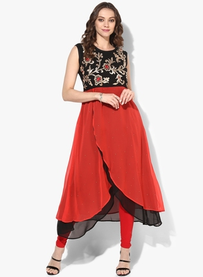 Zoeyams womens black & red georgette gota embroidery double layer long anarkali kurti