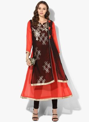 Zoeyams womens black georgette gota embroidery double layer long anarkali kurti
