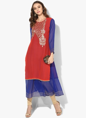 Zoeyams womens red georgette gota embroidery double layer long anarkali kurti