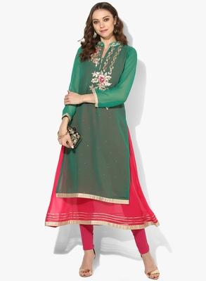 Zoeyams womens green georgette gota embroidery double layer long anarkali kurti