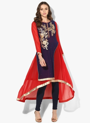 Zoeyams womens blue & red georgette gota embroidery double layer long anarkali kurti