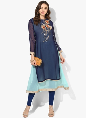 Zoeyams womens blue georgette gota embroidery double layer long anarkali kurti
