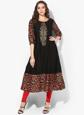 black cotton block prints long anarkali kurti