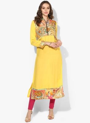Zoeyams womens yellow rayon screen prints long straight kurti
