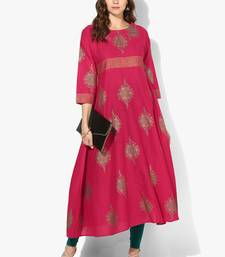 Zoeyams womens pink cotton block prints long anarkali kurti