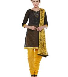 AgrohA black pure cotton dress material with dupatta
