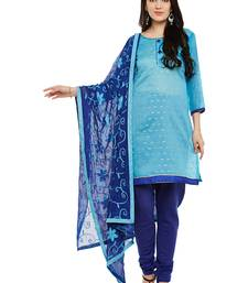 AgrohA blue pure cotton dress material with dupatta