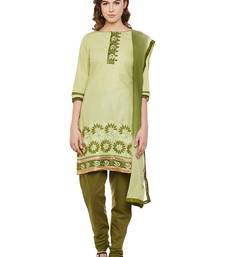 AgrohA green pure cotton dress material with dupatta