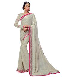 Buy Off white embroidered brasso saree with blouse brasso-saree online