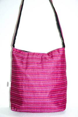Bright Pink threaded multiple strips unisex jhola bag