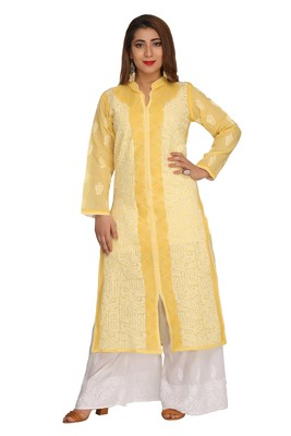 Yellow Embroidered Cotton Chikankari Kurti