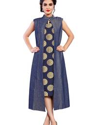 Buy Blue woven silk ethnic-kurtis ethnic-kurtis online