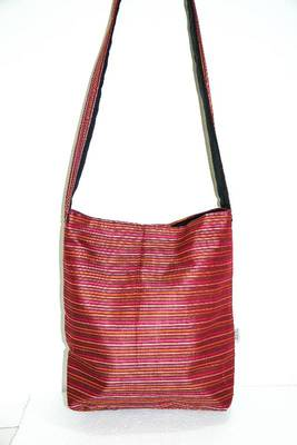 Dark Red threaded multiple strips unisex jhola bag