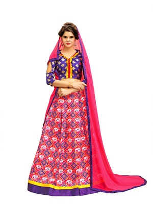 Purple and Peach Digitally Printed Twrill Silk  Lehenga Choli With Un-Stitched Blouse