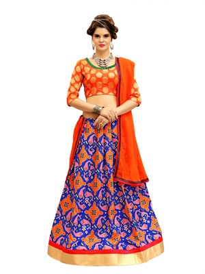 Orange and Blue Digitally Printed Twrill Silk  Lehenga Choli With Un-Stitched Blouse