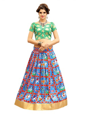 Rama Green and Blue Digitally Printed Twrill Silk  Lehenga Choli With Un-Stitched Blouse