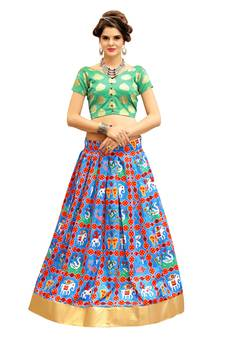 633bdce856 Rama Green and Blue Digitally Printed Twrill Silk Lehenga Choli With  Un-Stitched Blouse. Shop Now