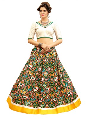 White and GreenDigitally Printed Twrill Silk  Lehenga Choli With Un-Stitched Blouse