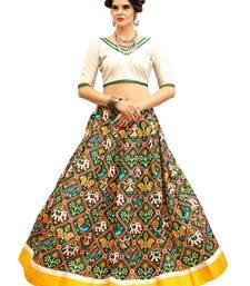 Buy White and GreenDigitally Printed Twrill Silk  Lehenga Choli With Un-Stitched Blouse lehenga-choli online