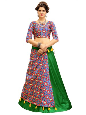 Green and Blue Digitally Printed Twrill Silk  Lehenga Choli With Un-Stitched Blouse