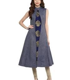 blue woven silk stitched kurti