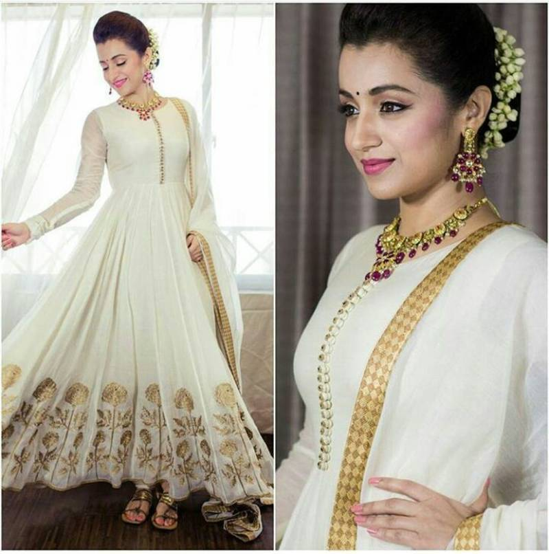 b3aa383b8d off white georgette embroidered anarkali suits - Daaginey - 2506952