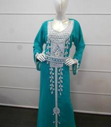 Teal zari work gerogette islamic arabic style festive party wear kaftan
