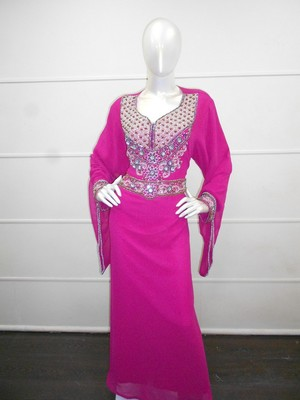 Pink zari work gerogette islamic arabic style festive party wear kaftan