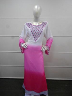 Multicolor zari work gerogette islamic arabic style festive party wear kaftan
