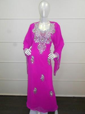 Pink zari work gerogette islamic arabic style festive party wear kaftan
