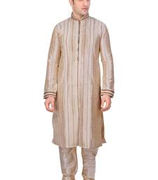 Buy Men's fawn front open kurta with cording and pleating all over with gundi buttons pakistani sherwani style men-festive-wear online
