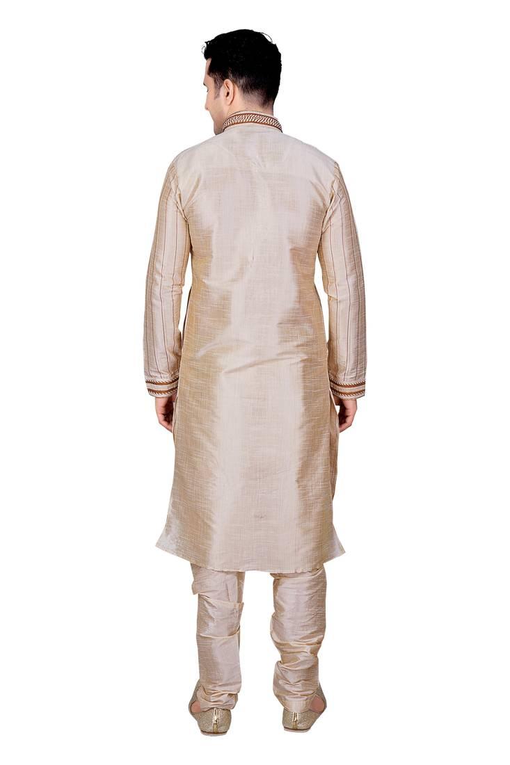 Fawn Front Open Kurta With Cording And Pleating All Over Gundi Buttons Pakistani Sherwani Style