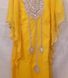 Buy Yellow satin embroidered georgette islamic arabic party wear abaya kids-kaftan online