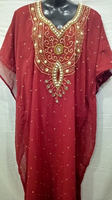 Red Satin Embroidered Georgette Islamic Arabic Partywear Abaya