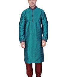 Buy Criss cross corded kurta with stitchline on collar and sleeves with gundi buttons pakistani-sherwani online