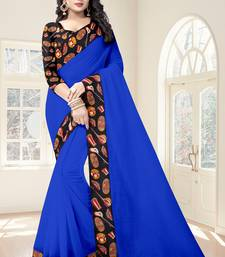 Buy Blue plain chanderi saree with blouse light-weight-saree online