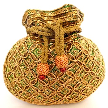 Beaded Drawstring Potli/Batwa- Green