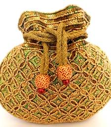 Buy Beaded Drawstring Potli/Batwa- Green potli-bag online